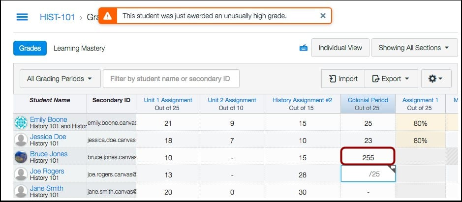 Canvas gradebook warning for too many points