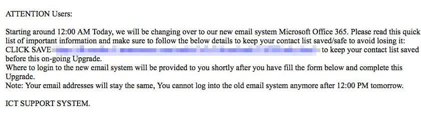 Phishing Attempt Example 1