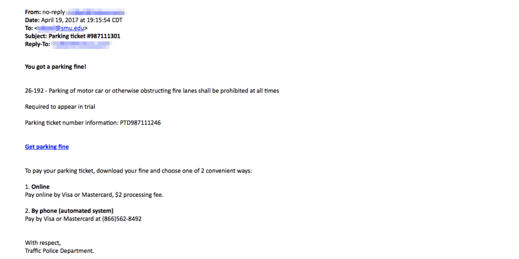 Parking ticket Phishing Email sample