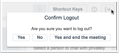 picture showing how to logout and end the meeting in canvas conference