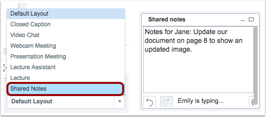 "picture showing the ability to choose ""shared notes"" layout in canvas conference"