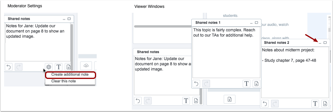 picture showing how to manage shared notes in canvas conference