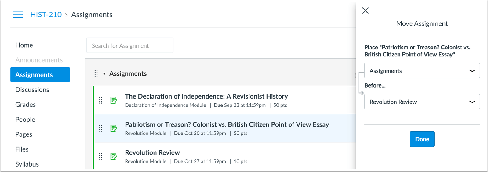 picture showing assignments move to page