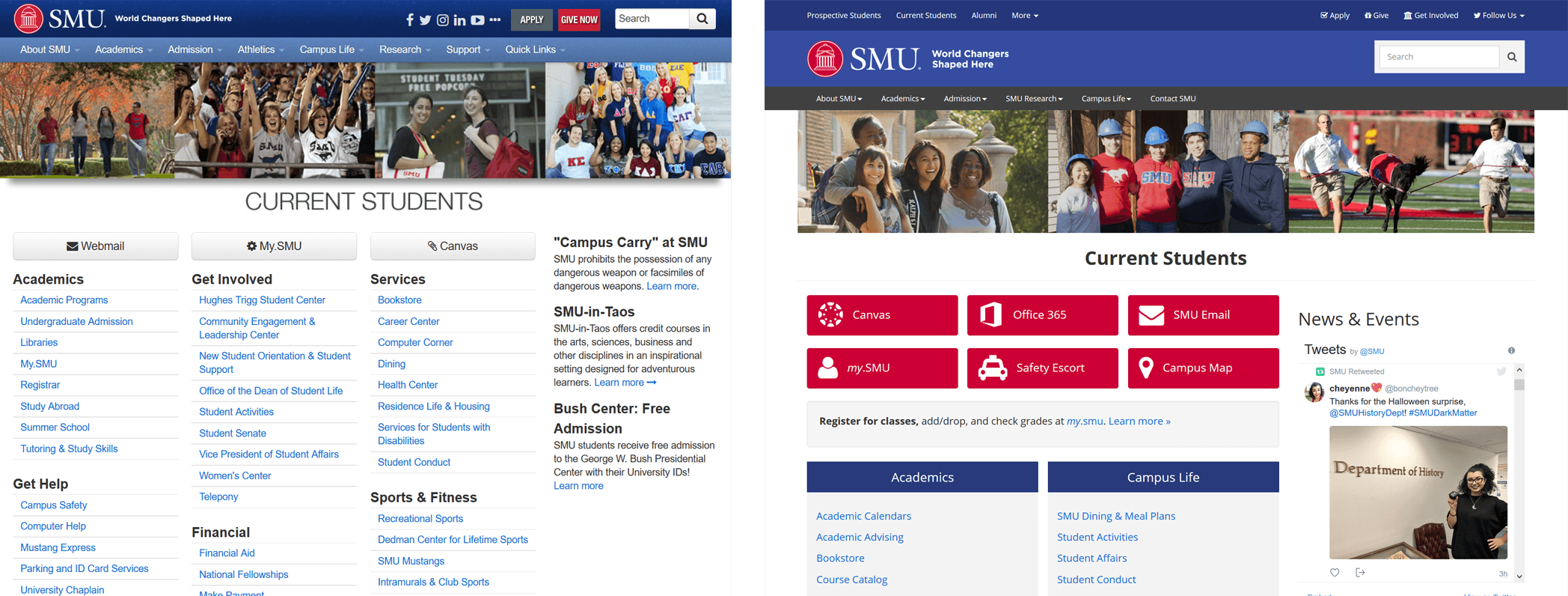 Before and After images of the SMU Current Students page