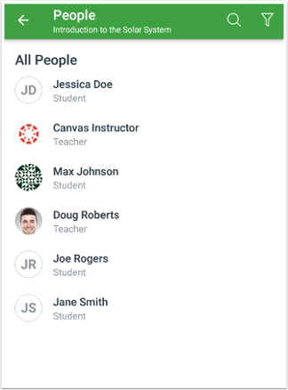 picture of the people page in the app Android