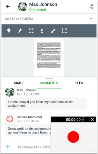 Picture of how to add video comment Android
