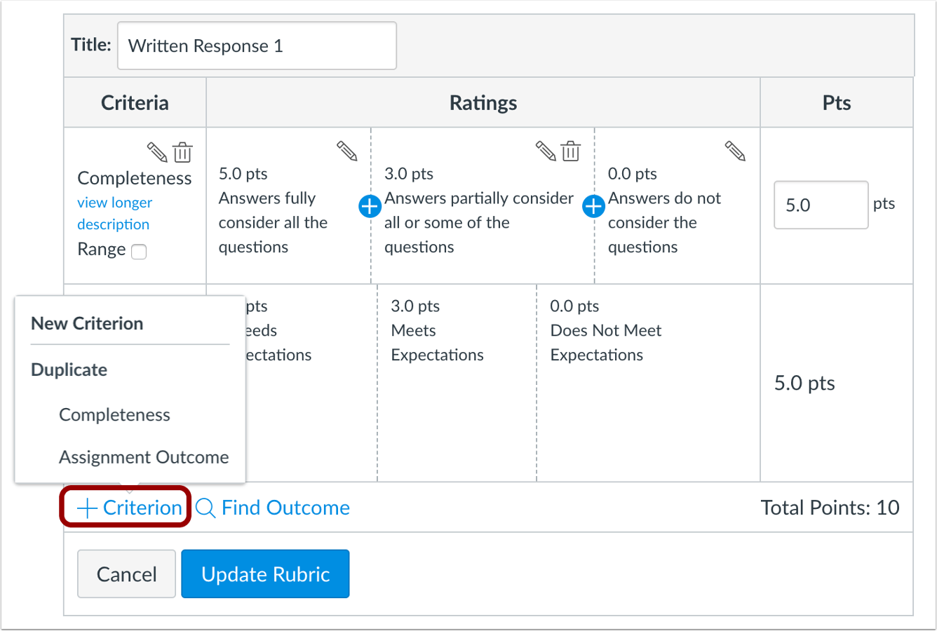 picture of the new ability to duplicate Criterion in a rubric