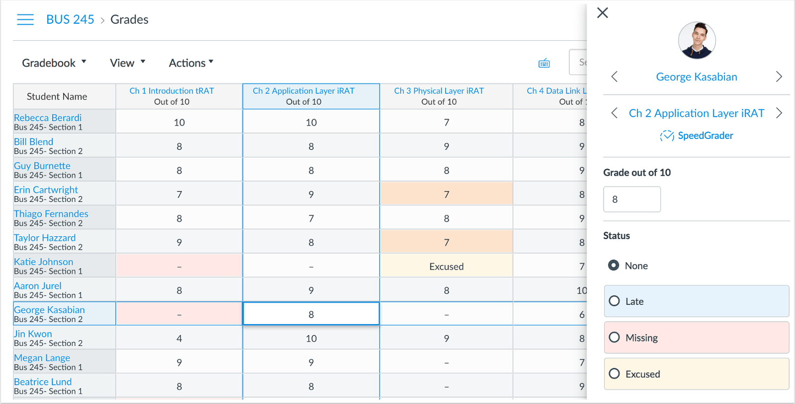 picture of the New Gradebook in Canvas