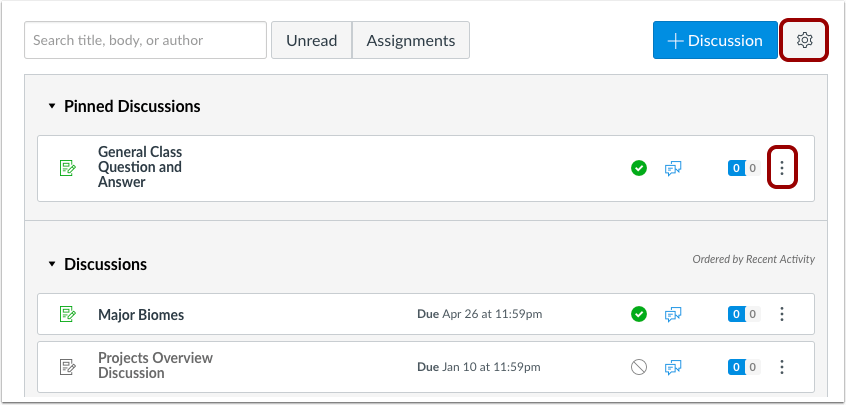 a picture that shows the new icons used in assignments,quizzes, or discussion rows