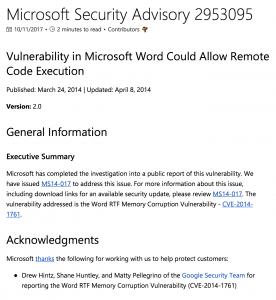 Microsoft Security Advisory 2953095