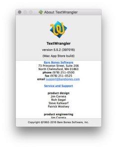 TextWranglers About Window