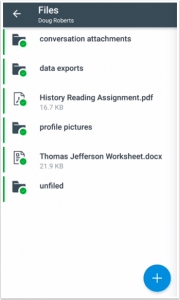 Picture that shows the files interface for teachers in the Canvas teachers app