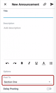 Picture that shows section specific announcemnts in the Canvas teachers app