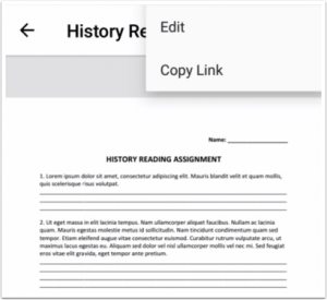 Picture showing Canvas new ability to copy links to files in mobile app