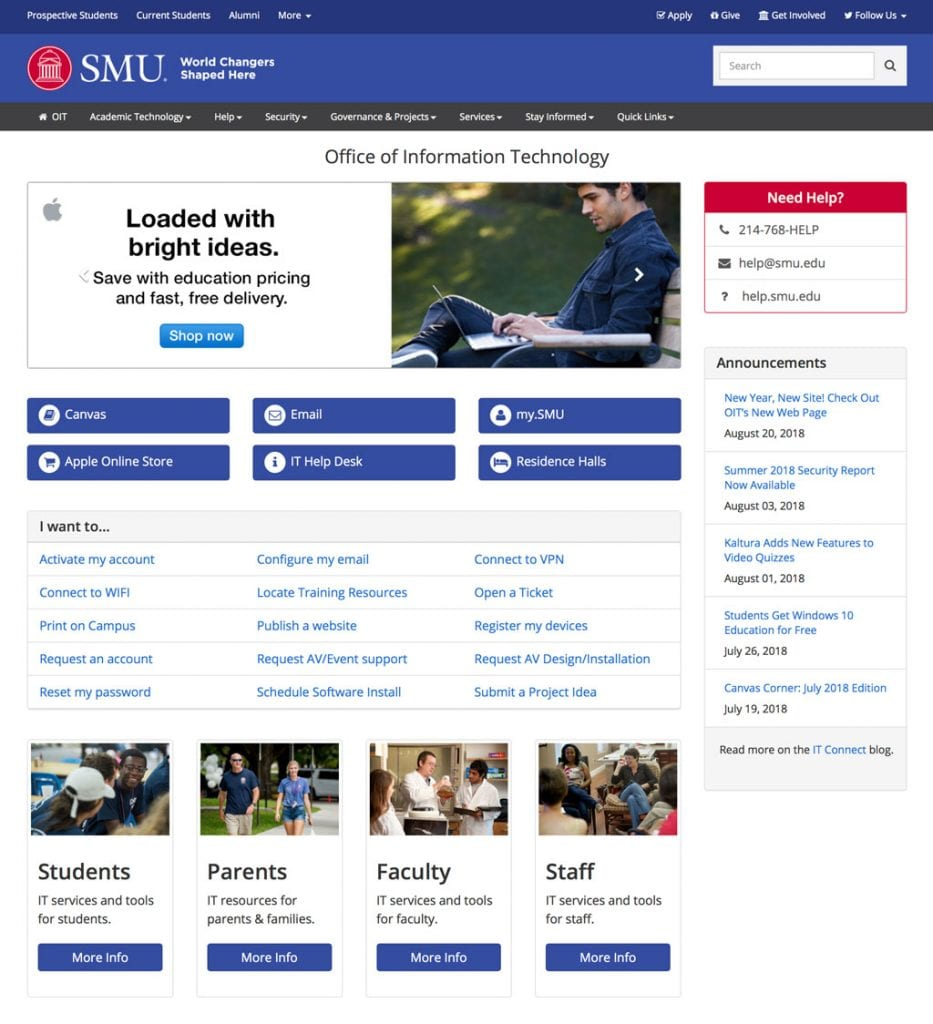 OIT Homepage (Fall 2018)