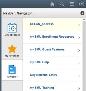 An image of the NavBar button and Navigator menu in my.SMU.
