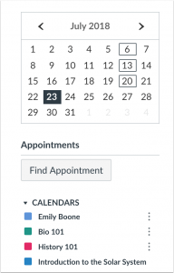 Picture that shows how students find appointments in teh calendar in Canvas