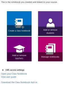 A picture that shows the OneNote Class Notebook integration into Canvas