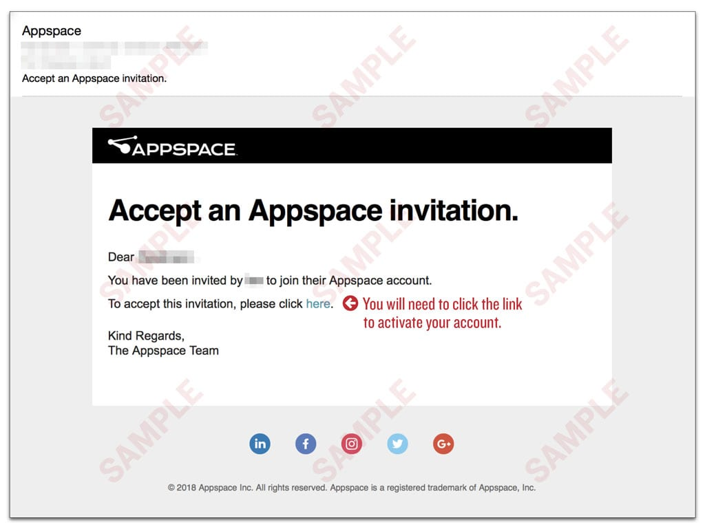 Appspace Cloud Invite