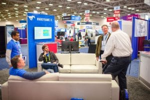 SMU students, staff, and faculty discuss ManeFrame 2 at SMU's booth at SC18.