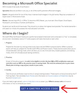 Screen shot of where to obtain a GMetrix access code