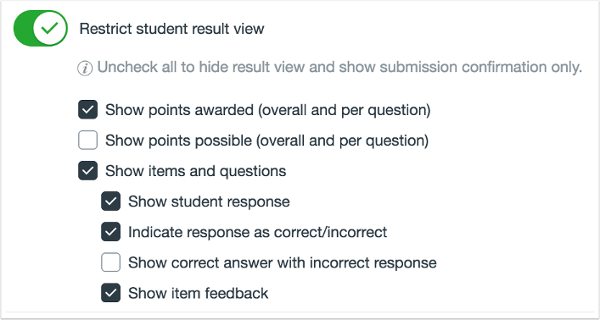 Picture of the options to restrict student results view in quizzes.Next inside Canvas