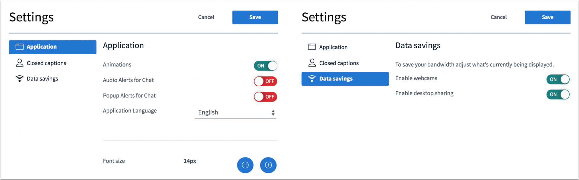 Picture that shows the new settings interface of canvas conferences