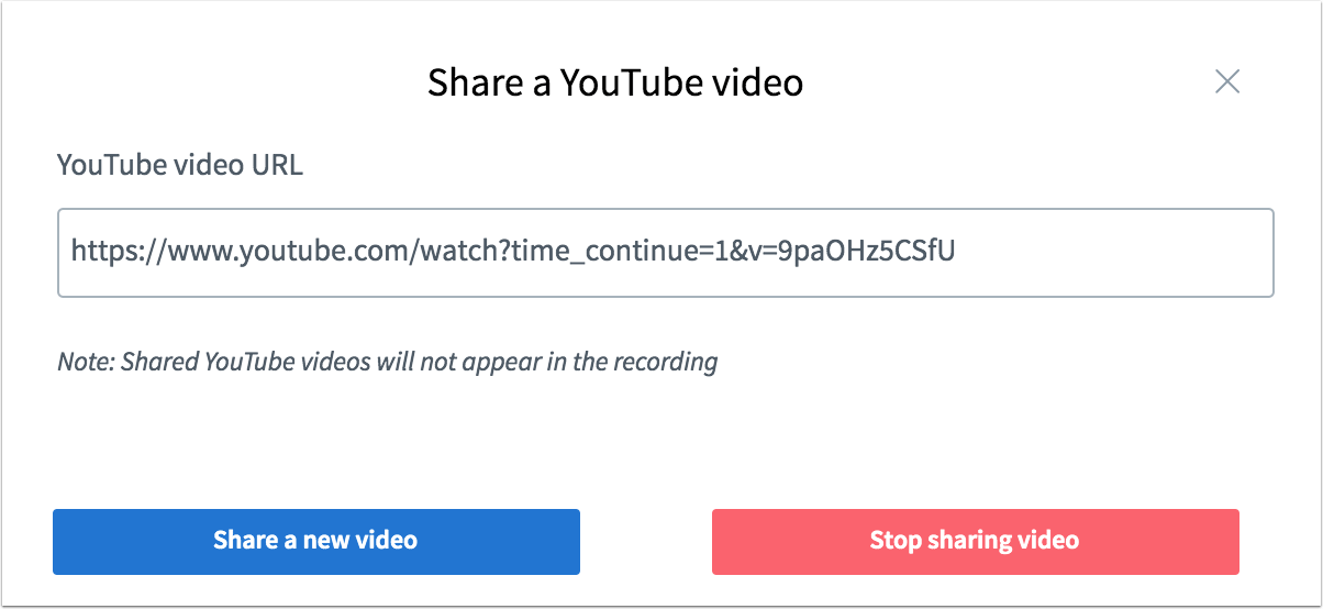 Picture that shows how a youtube video is shared inside canvas conferences