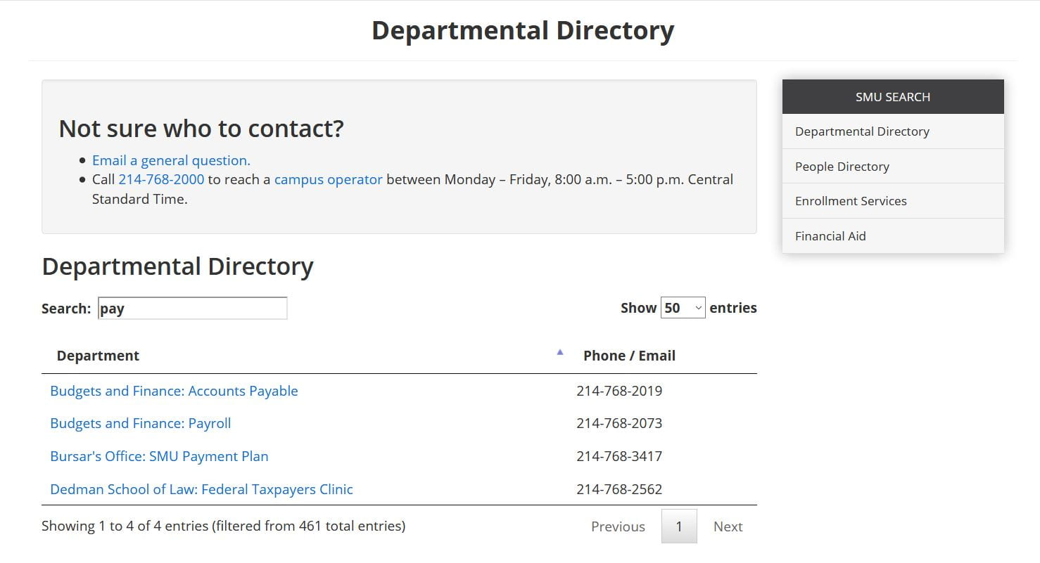 Example of Department Directory