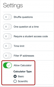 A picture showing the new calculator setting in quizzes.next