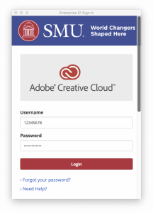 Adobe Creative Cloud SMU Sign In