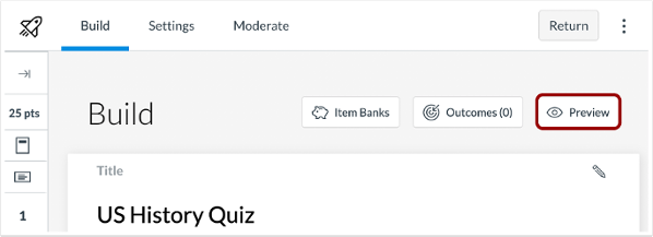 A picture in Canvas that highlights the new preview function for Canvas New Quizzes