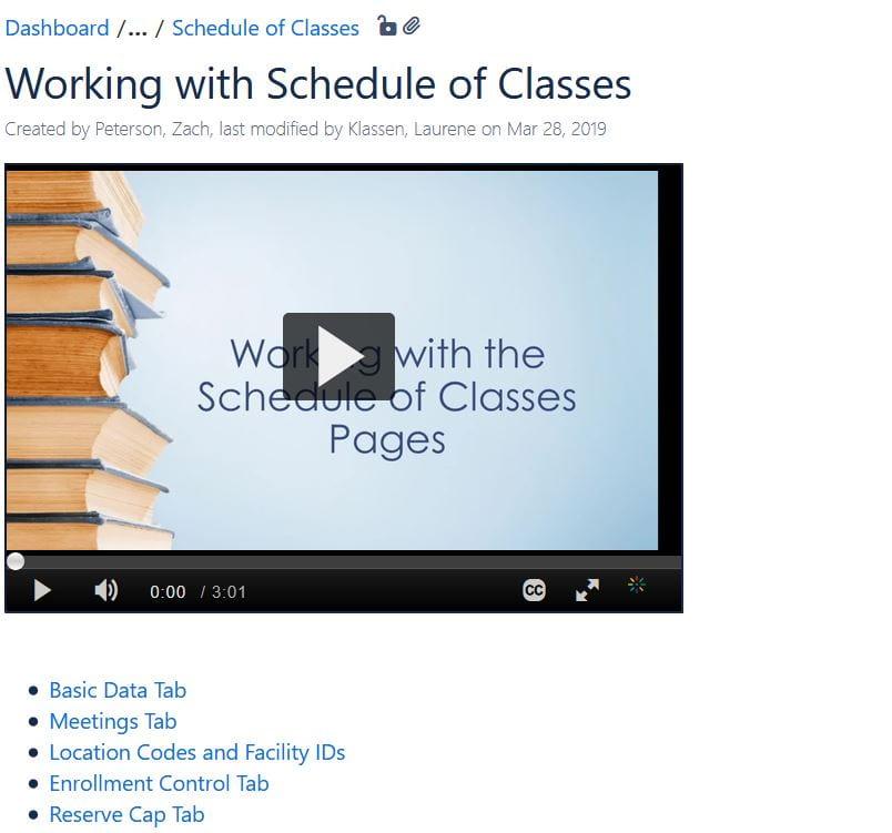 Schedule of Classes Wiki screenshot
