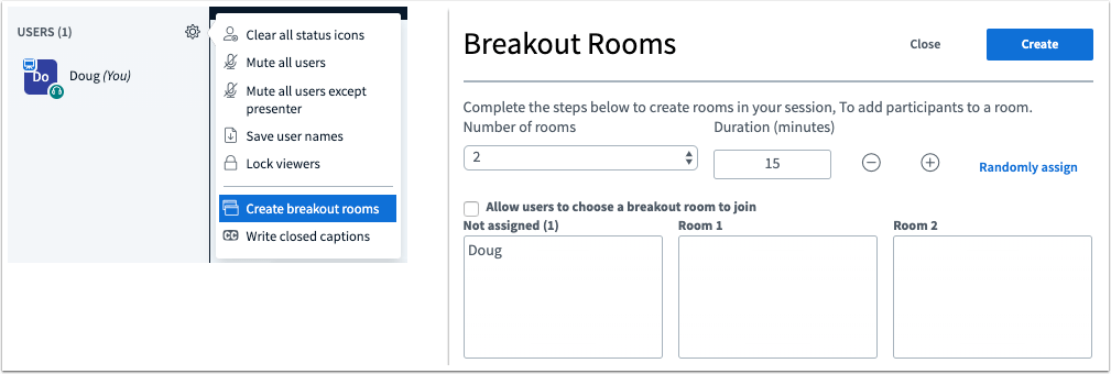 A picture in Canvas that shows the ability of a moderator to create breakout rooms inside a canvas conference