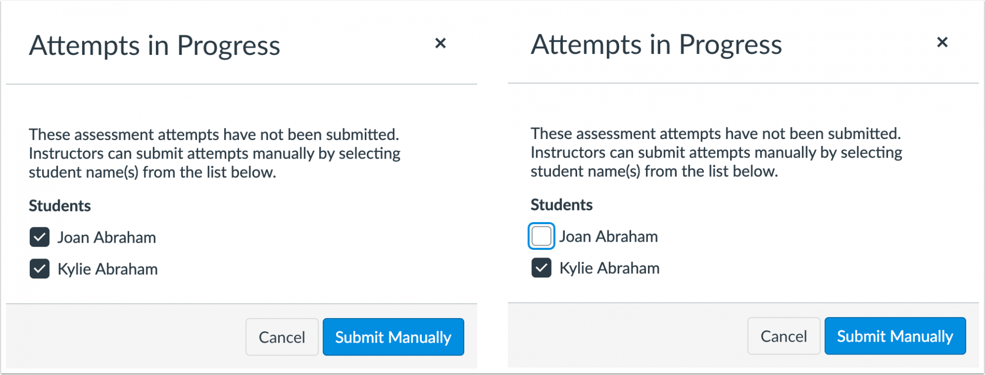 picture showing the ability to submit quizzes manually.