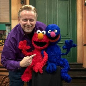 Ian Aberle with Elmo and Grover at AdobeMAX