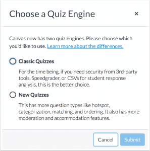 new quizzes or classic quizzes option