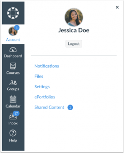 Shared content option under your account icon