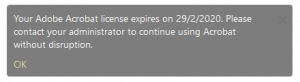 A screenshot of the Adobe license error.