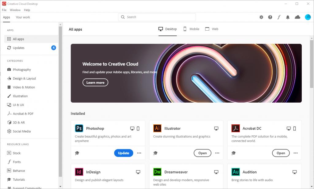 A screenshot of the Adobe Creative Cloud client.