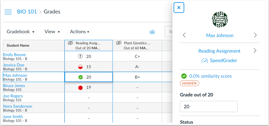 Picture showing Canvas' new plagiarism icons in the grade book