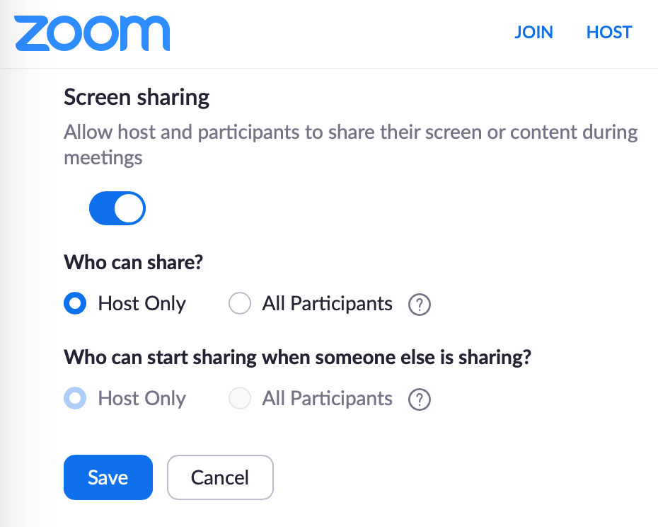 The screen sharing options in Zoom.