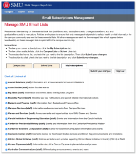 Manage SMU Email Lists site