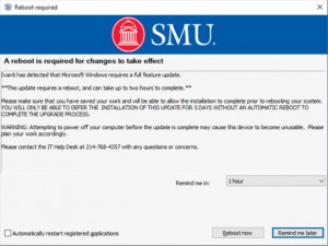 A screenshot of the Ivanti notification for the Windows 10 2004 upgrade.