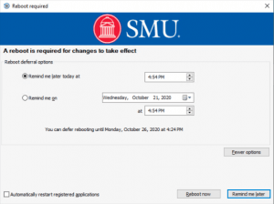 A screenshot of the deferral selection options for the Windows upgrade.