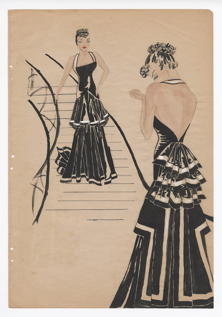Installation is underway: Fashion Design Sketches by Nancy B. Hamon