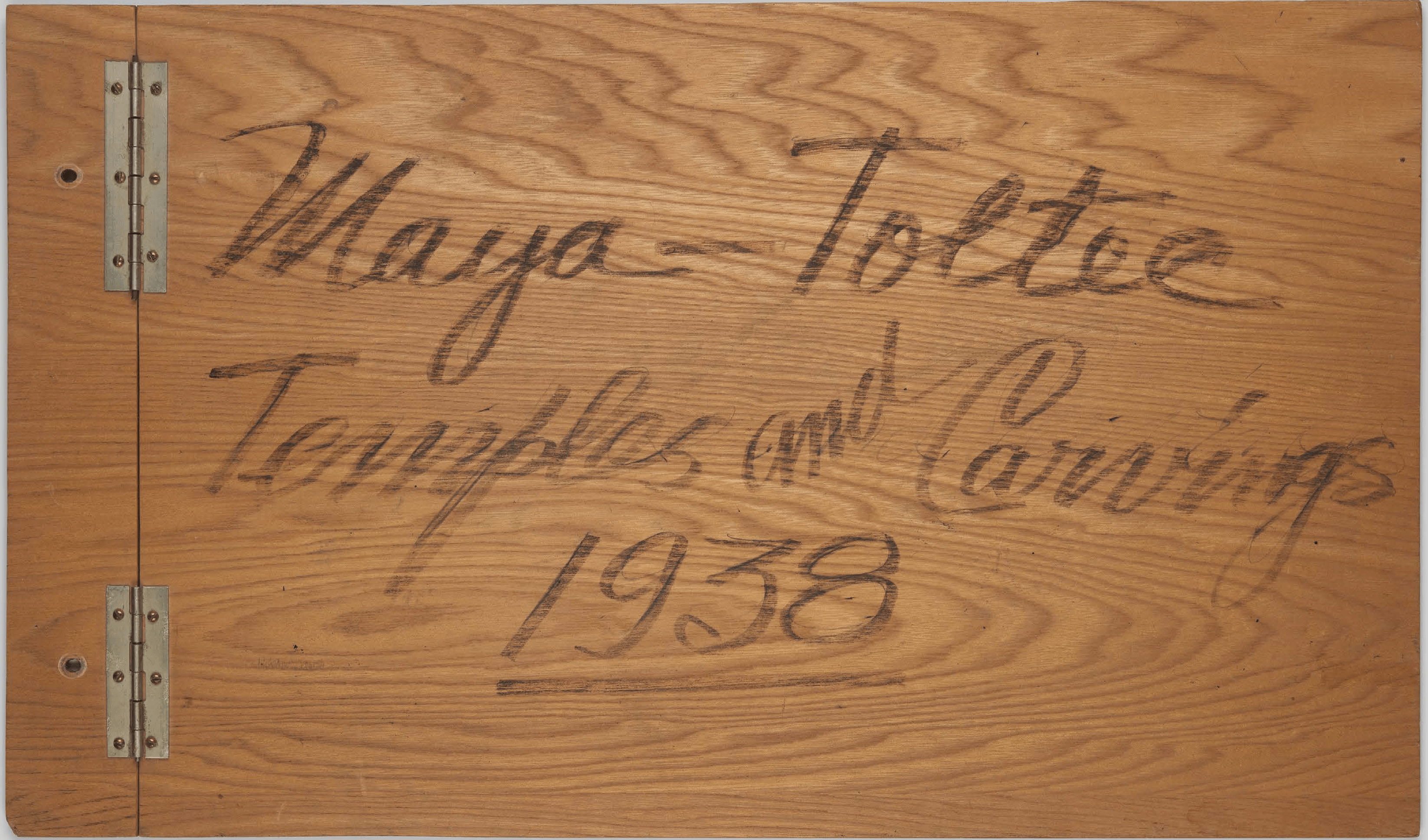 Cover of the scrapbook Maya Toltec Temples and Carvings, 1938