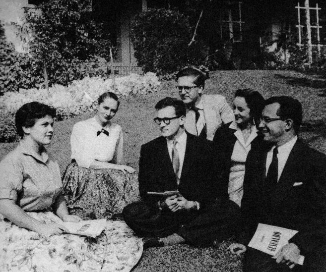 Gesualdo madrigalists, with Robert Craft (center) & Marilyn Horne (1950s)