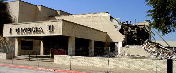 Demolition of NorthPark Cinema II. Photograph by Brad Miller.