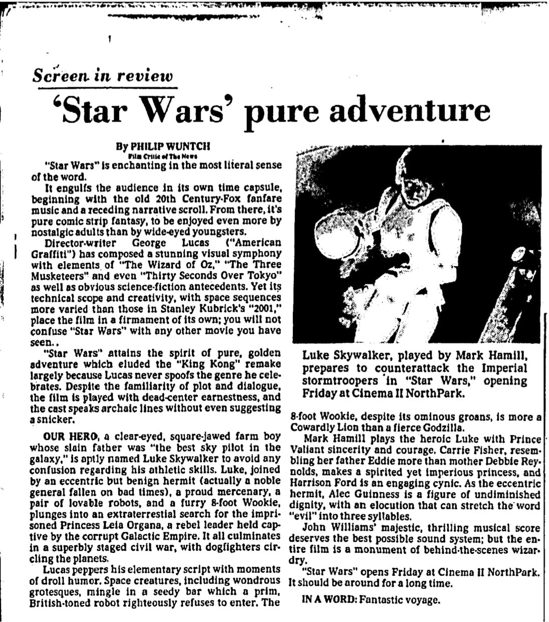 Headline: 'Star Wars' Pure Adventure by Philip Wuntch. Dallas Morning News (Dallas, Texas), May 26, 1977, p. 51. From the Dallas Morning News Historical Archive.